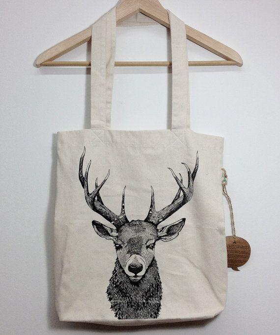 borsa shopper con stampa cervo di HardtimesTattoo su Etsy
