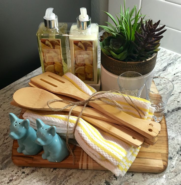 Housewarming gift ... Wooden chopping board, hand towels, wooden cooking utensils, shot glasses, salt and pepper shakers, hand soap/lotion set, indoor plant #housewarmingparty