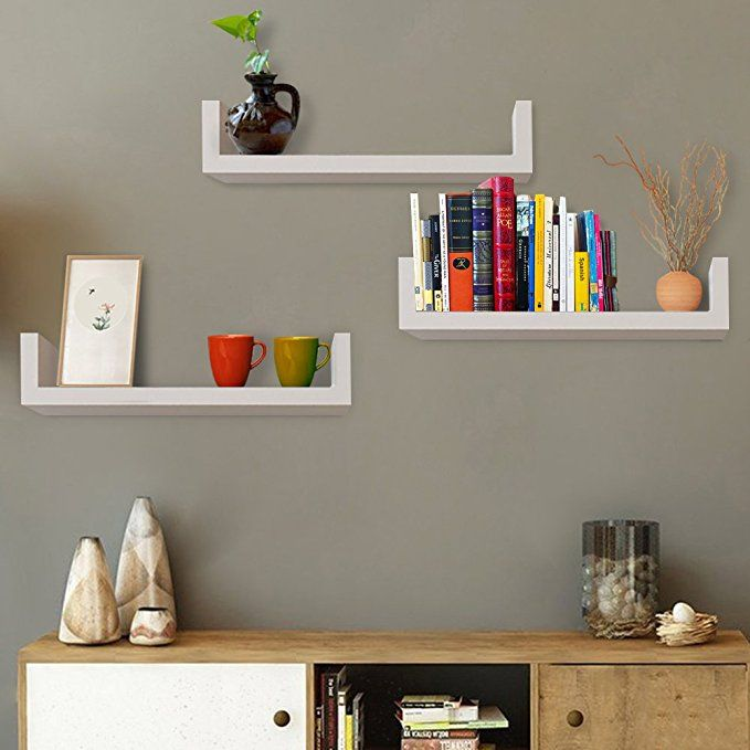 Modrine 3 Floating U Shelves Wall Shelves Diy Wood Display White