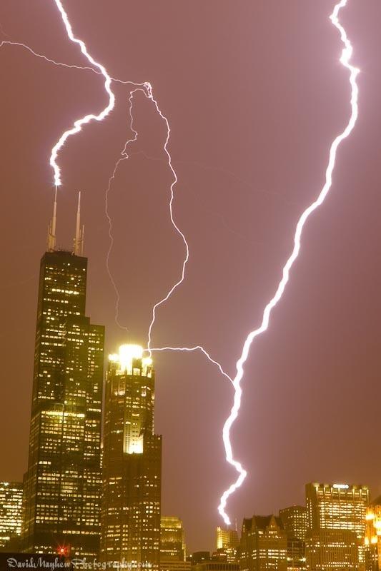 Sears Tower, Hancock Lightning Strike in Chicago