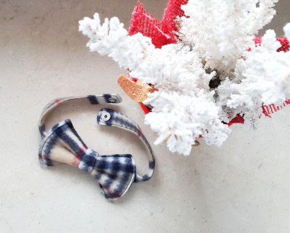 Pet Bow Tie Plaid Fleece Dog Bow tie Cat Bow tie ideal by PinkBau