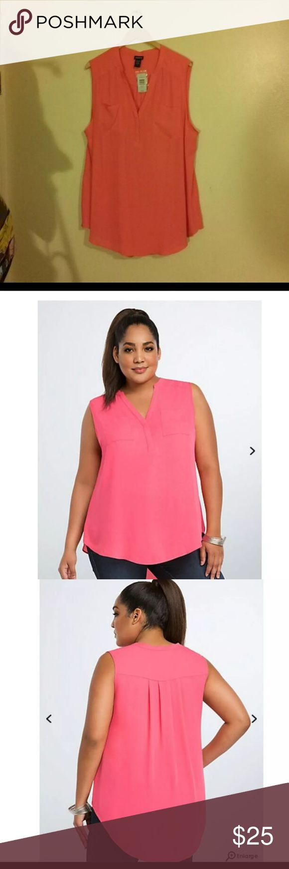 """Torrid Georgette Tank Top size 3 A no-nonsense front placket polishes up the sweet rose red (and semi-sheer) georgette, while the hi-lo style creates a built-in-breeze. Double breast pockets finish off the look. Size 3 measures 31 1/4"""" from shoulder, Polyester torrid Tops Blouses"""