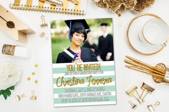 Graduation Party Invitations / Mint and White Striped, Photo / Party Invite for Graduate / Class of 2015, 2016 / Digital or Printed Cards