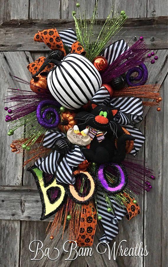 Halloween Wreath Halloween Swag Fall Wreath Halloween Door