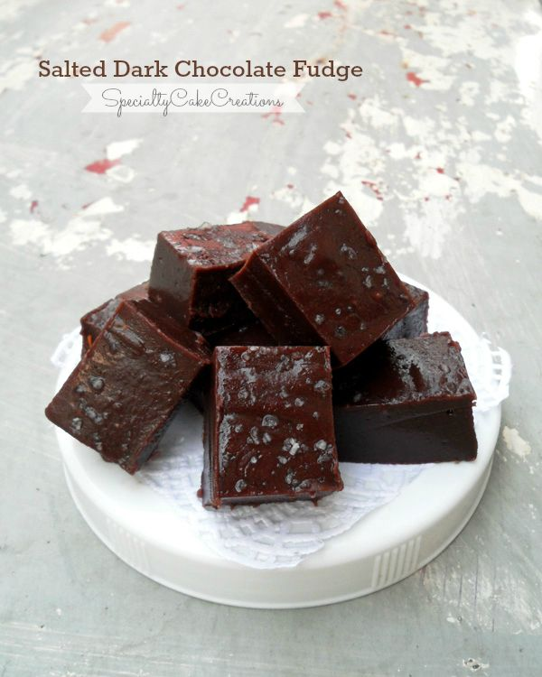Salted Dark Chocolate Fudge - A perfect combination of sweet and salty. And with the use of sweetened condensed milk this fudge is a breeze to make.| SpecialtyCakeCreations