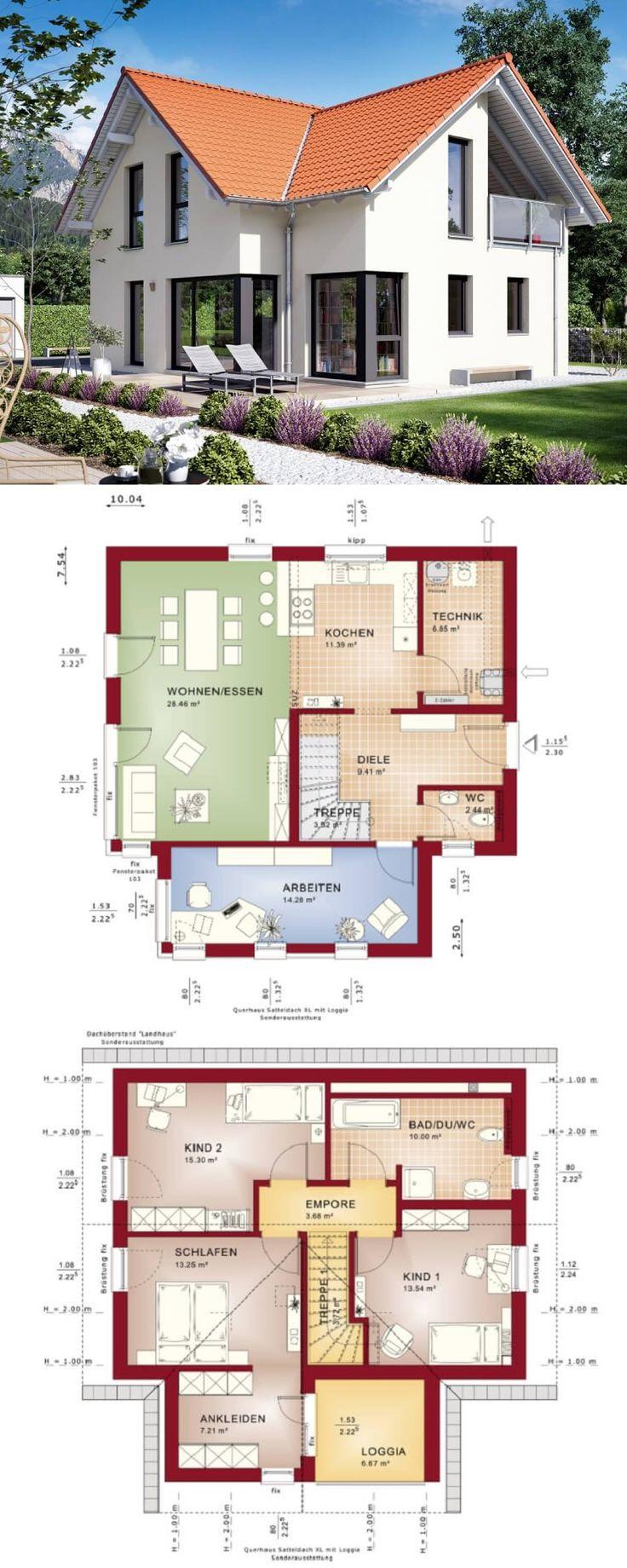 Klassisches Einfamilienhaus mit Satteldach Erker und Loggia - Haus Grundriss Edition 3 V 6 Bien Zenker Fertighaus - HausbauDirekt.de