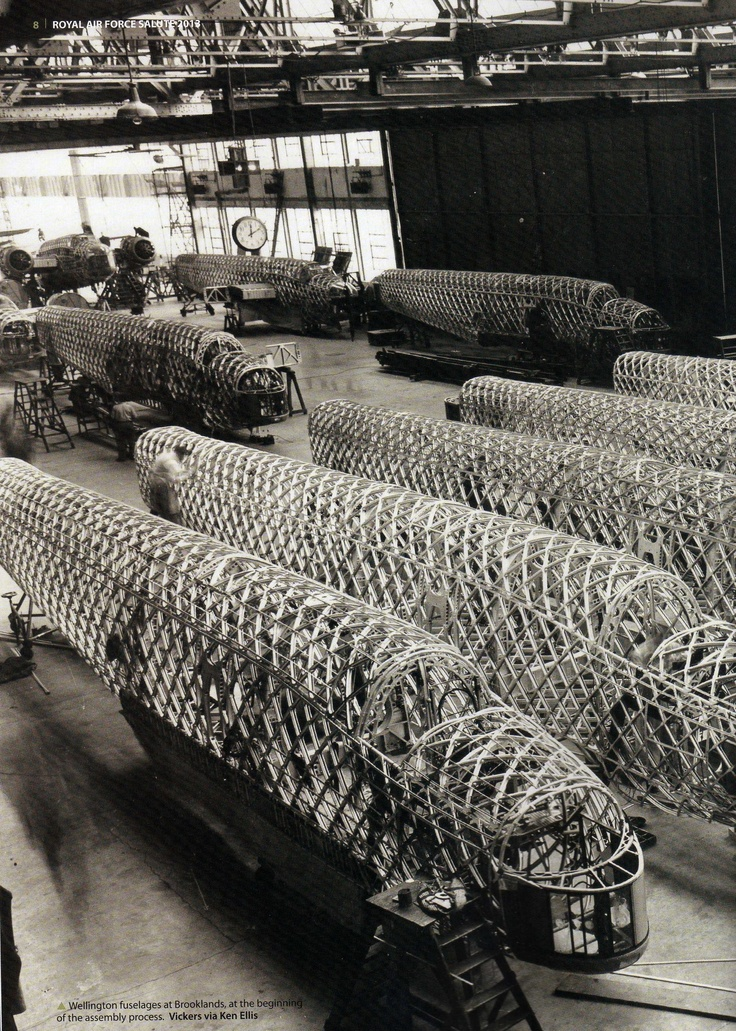 Wellington's fuselages at Brooklands at the beginning of the assembly process - - RAF - Dambusters