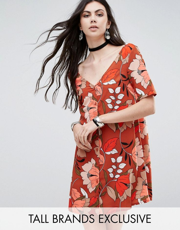 Buy it now. Glamorous Tall Button Front Tea Dress In Floral Print - Multi. Tall dress by Glamorous Tall, Printed woven fabric, Deep-v neck, Button placket, Regular fit - true to size, Machine wash, 100% Polyester, Our model wears a UK XS/EU 36/US 4 and is 180cm/5'11 tall, Exclusive to ASOS. ABOUT GLAMOROUS TALL Glamorous pulls together an eclectic mix of vintage influences and brand new trends. Glamorous Tall brings us the same fashion-led pieces as their mainline collection � day-to-night…