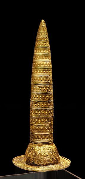 Celtic:  Berlin Gold Hat. 1,000 - 800 BCE. A documentary about this piece speculated that this is where the modern idea of a wizard's hat comes from. Believed to have been worn by #Celtic Druids during ceremonies, and/or as the insignia of deities or priests in the context of a Sun cult that appears to have been widespread in Central Europe at the time.