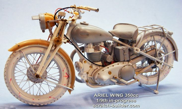 """Ariel W/NG 350cc British Army military motorcycle, """"The Italian Campaign, 1943"""". Scratch built 1/9 scale. W.I.P. By Alexander Wence De Leon. #vignette #motorcycle #WW2 http://scratch-builder.blogspot.jp/search/label/Ariel"""