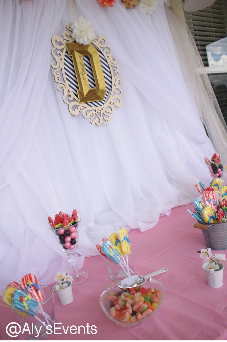 Main Table  for Summer Sweet 16 Pool Party  Decor by Aly's Elegant Occasions