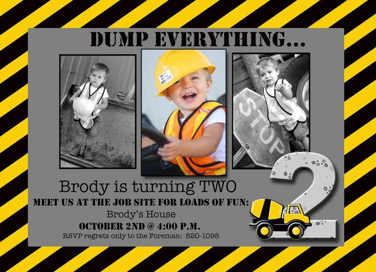 17 Best ideas about Construction Invitations – Construction Themed Birthday Party Invitations