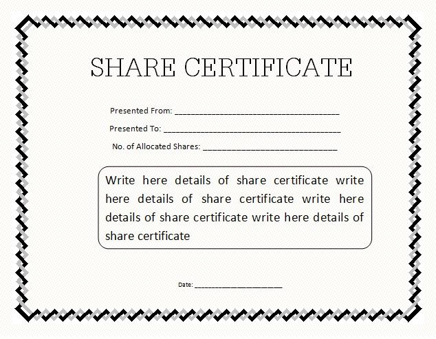14 Share Certificate Templates Free Printable Word Pdf