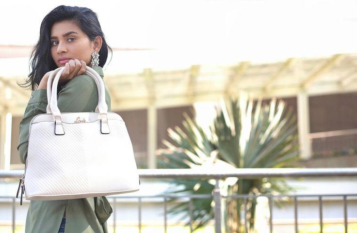 Olive Green Top - Koovs,  Beige Handbag - Lavie, Earrings - Karleo. Street Style Fashion