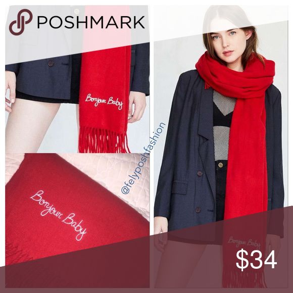 Urban Outfitter Bonjour Baby Embroidered Red Scarf Urban Outfitter Bonjour Baby Embroidered Red Scarf Give your style a message with this icon scarf cut long and wide in a soft, brushed knit accented by fringed edges and embroidered icon accent Urban Outfitters Accessories Scarves & Wraps