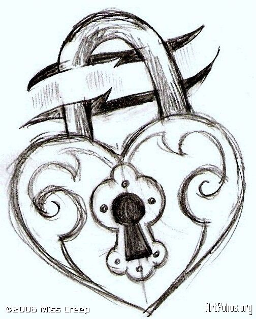 key and lock drawings | this is just a sketch for a simple tattoo idea