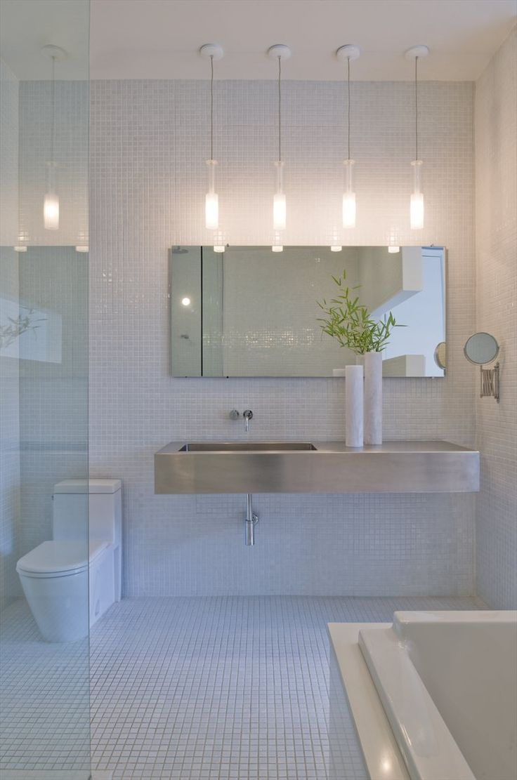 Stainless Steel Basin + White Tiles + Pendant Lights | Hampden Lane House, Bethesda, 2010