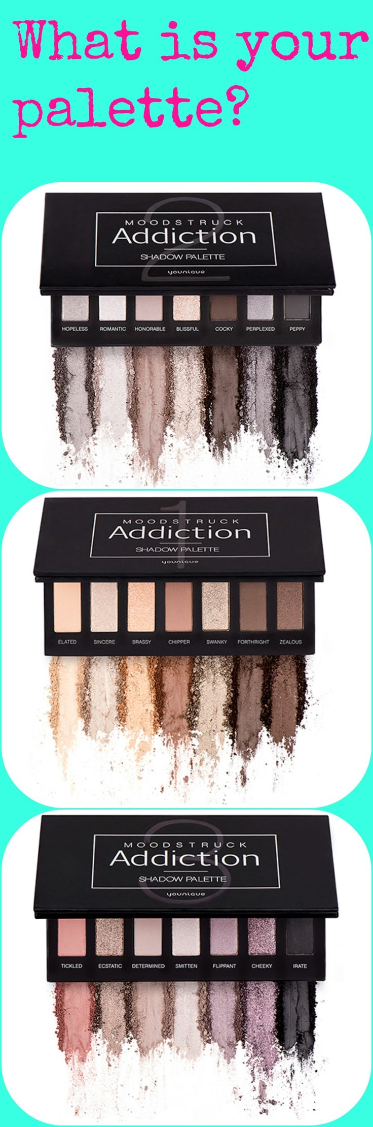 Three great shadow palette's available.  What color palette do you prefer or are you like me and like to change it up?