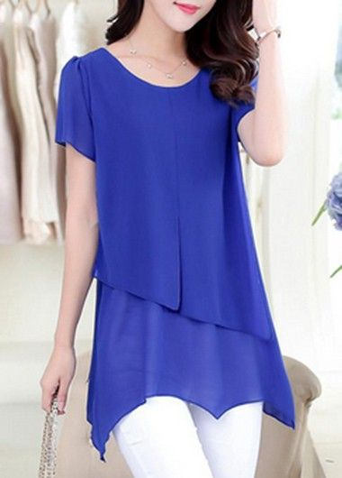 Tiered Short Sleeve Asymmetric Royal Blue Chiffon Blouse