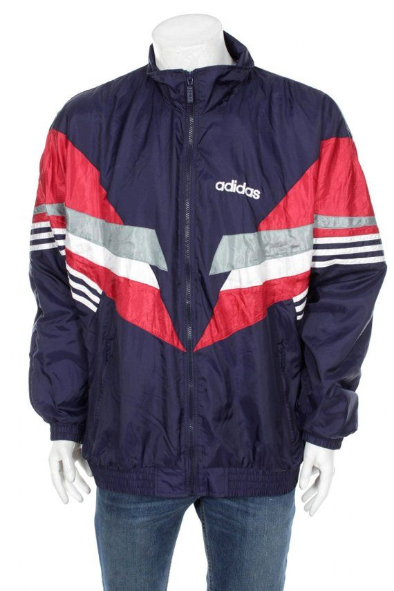fce628b6ea0 Vintage Adidas Cut and Saw Windbreaker jacket Color block Navy Blue Red White  Size XL