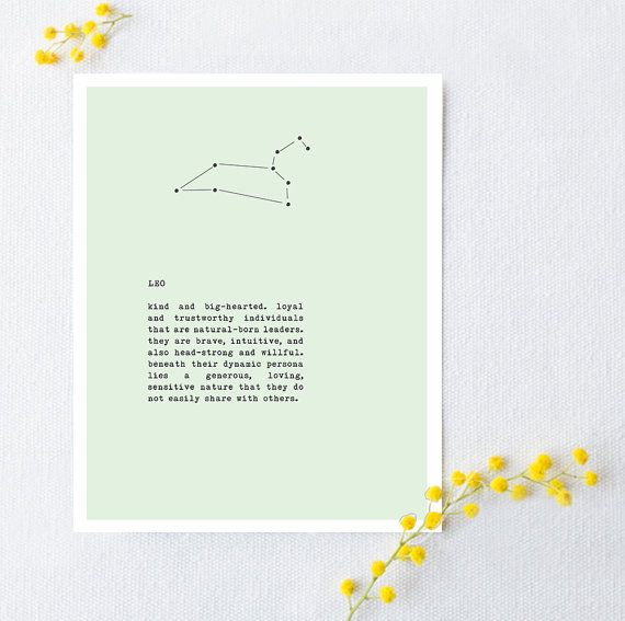 Leo zodiac sign poster constellation art leo astrology