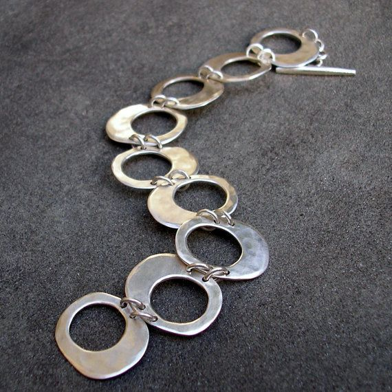 Sterling Silver Bracelet  Hammered Silver Link by lsueszabo                                                                                                                                                                                 More
