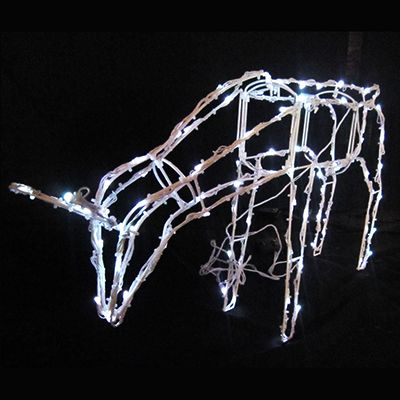 Feeding Reindeer Christmas Light Display - 100 White Solar LED Lights - Steady + 7 Lighting Functions - Outdoor Use - 74cm x 48cm