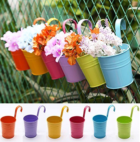 USE: Small Indoor Outdoor Metal Iron Hanging Planters Garden Patio Plant  Flower Pots For Balcony