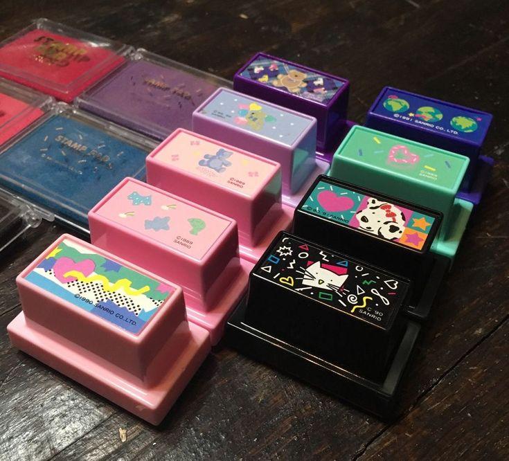 ❤︎ VTG Sanrio VERY RARE Stamp LOT Ink BEARS Hearts EARTH Cats NEW Kawaii 80s ❤︎