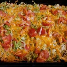 Taco Casserole with Doritos, made this last night super yummy!  Added some extras like onions and olives though.