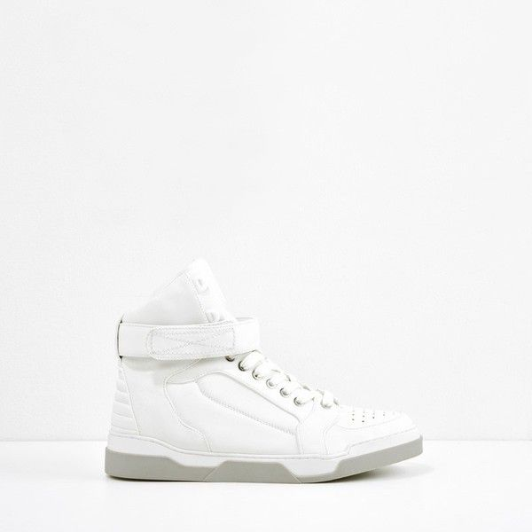 CHARLES & KEITH High-Top Ankle Strap Sneakers ($43) ❤ liked on Polyvore featuring shoes, sneakers, white, high-top sneakers, white flat shoes, ankle wrap flats, high low tops and high top shoes