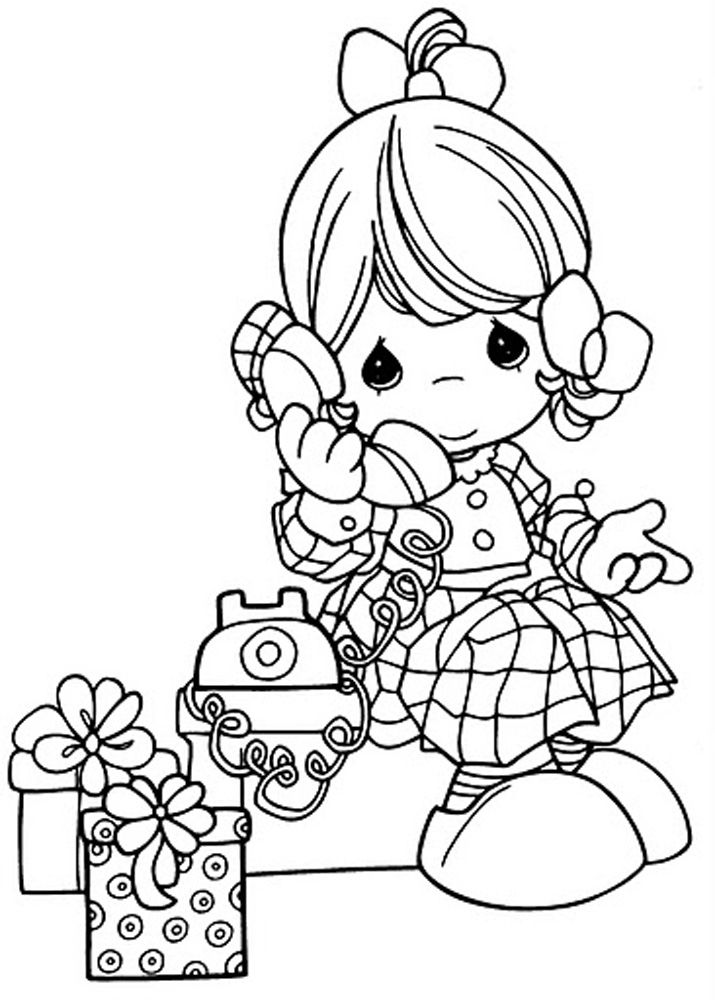 The Girl Child And Phone Picture Coloring