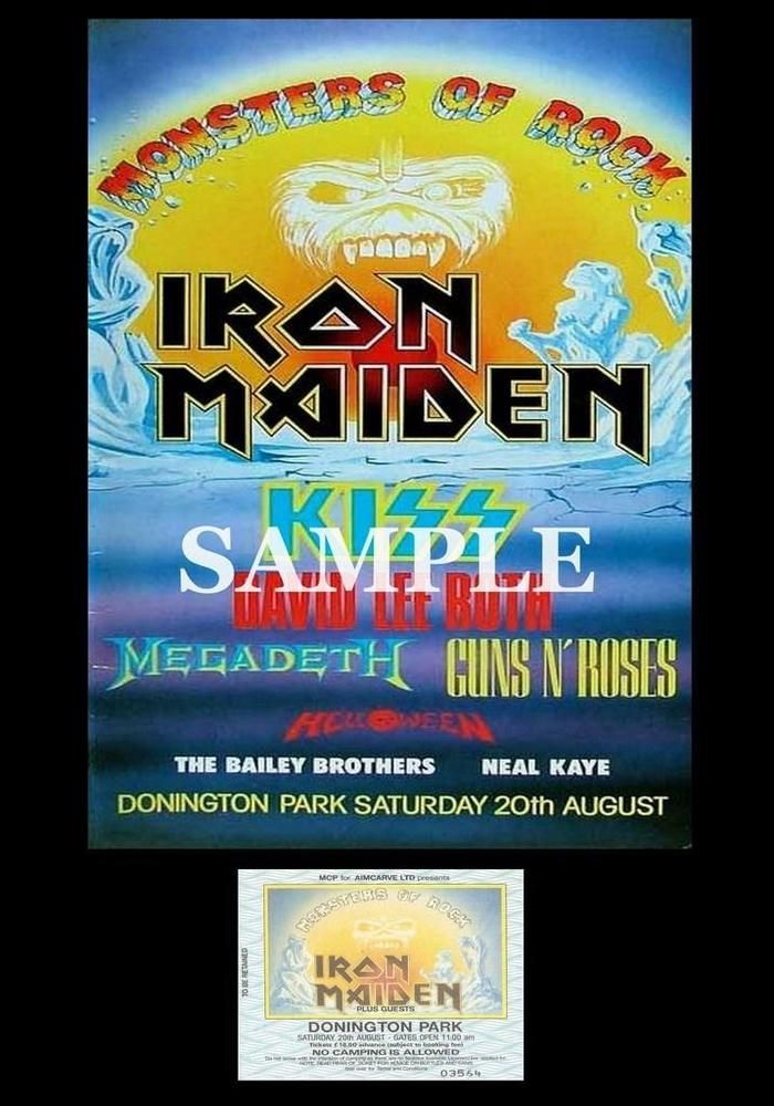 Iron Maiden concert poster+ticket Monsters Of Rock Donington UK 1988 A3 repro | eBay