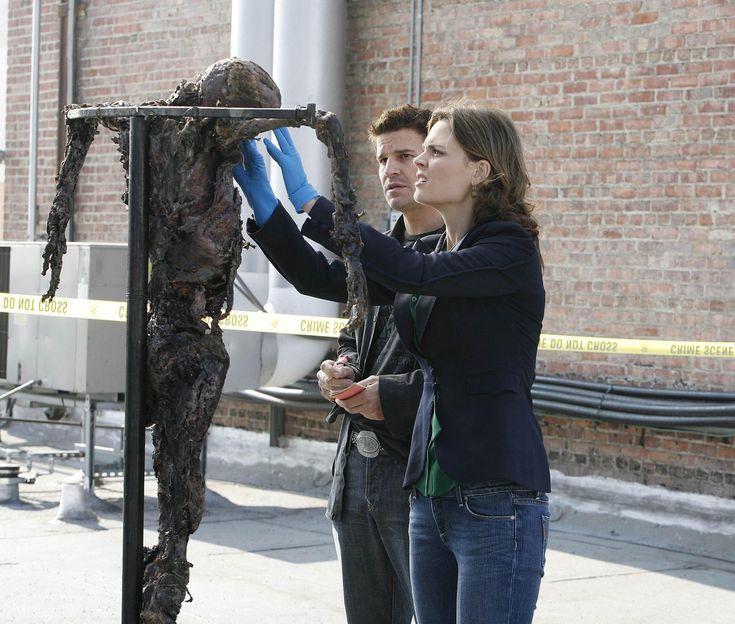 Bones Season 2 - Judas on a Pole   Emily Deschanel as Dr. Temperance Brennan David Boreanaz as Special Agent Seeley Booth  ©2006 Fox Broadcasting Co. Cr: Isabella Vosmikova/FOX