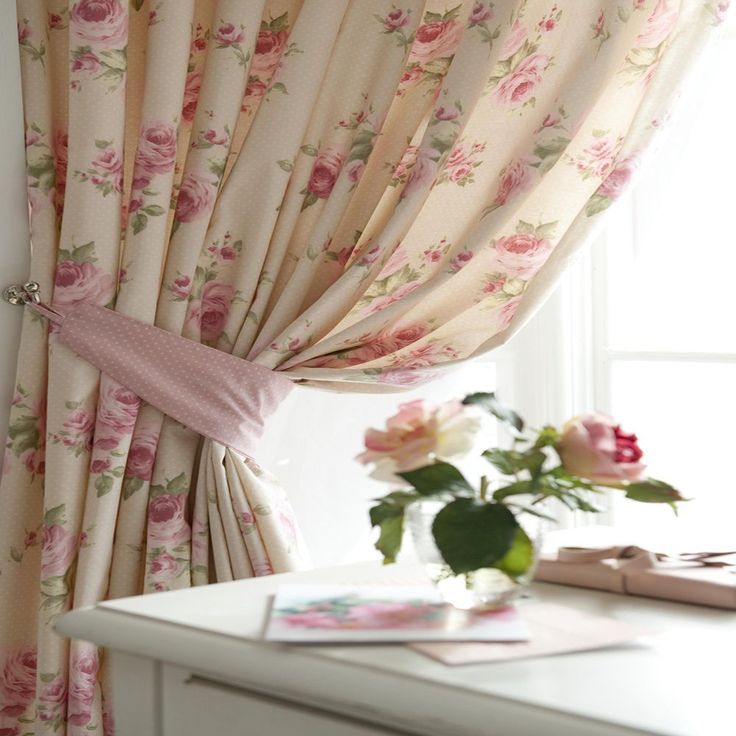 66 x 72 SHABBY CHIC FLORAL ROSE EMBROIDERED CURTAINS