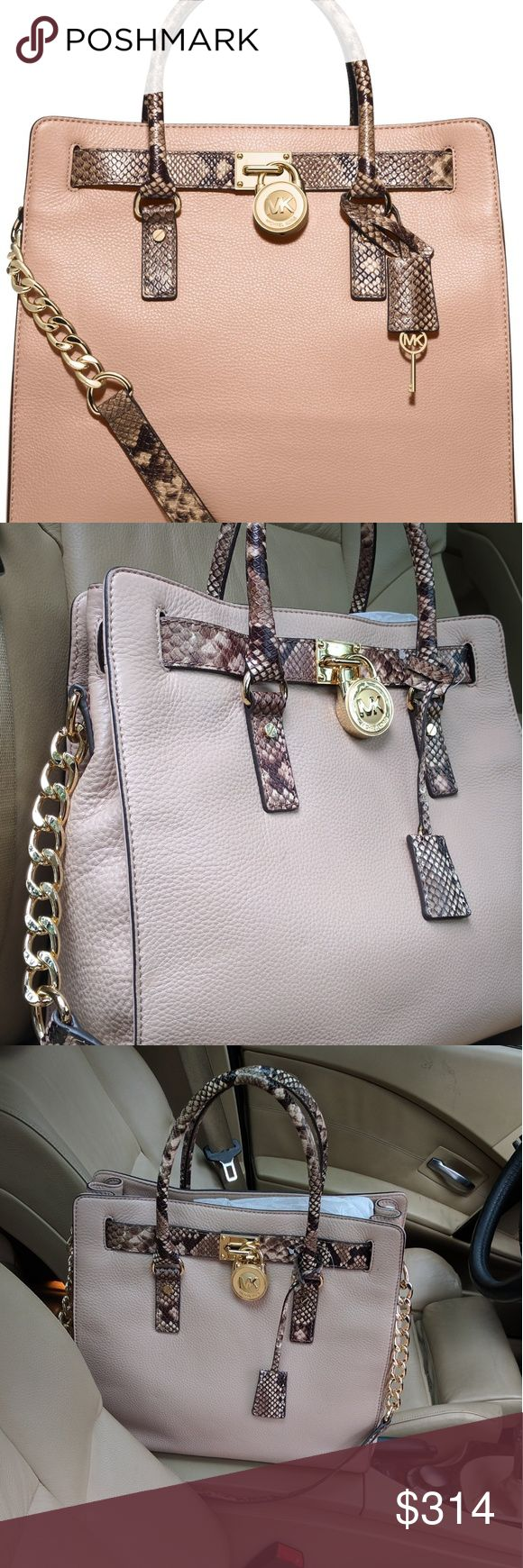 Nwt Michael kors Exotic Blush Hamilton n/s Tote New with tags never been used snake online Hamilton in Blush colored leather. Gold hardware. Stunning. No trades please. Michael Kors Bags Totes