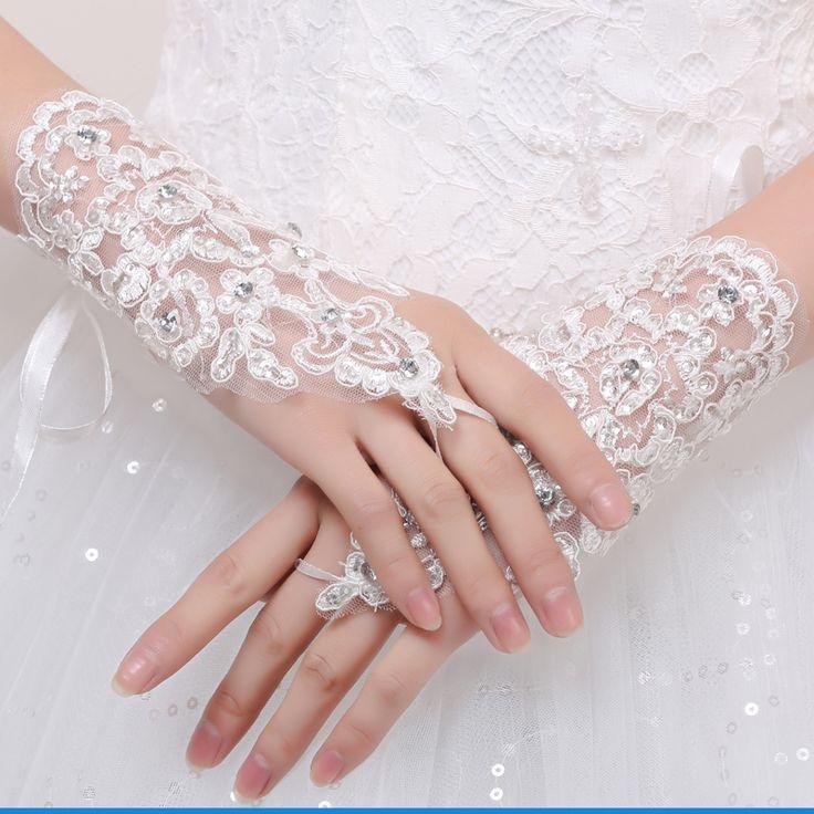 Слоновая кость / белый 2016 горячие корейской свадебный женат короткий параграф кружевные перчатки полуперчатки белого кружева свадебное платье аксессуары кружевные перчатки