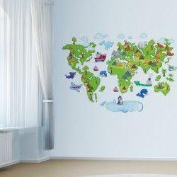 World map!  Ett nytt och spännande sätt för barnen att upptäcka världen! Detta väggdekor som föreställer en världskarta ger rummet det lilla extra samt ökar trivseln.  Län till produkt: http://www.feelhome.se/produkt/world-map/  #Homedecoration #art #interior #design #Walldecor #väggdekor #interiordesign #Vardagsrum #Kontor #Modernt #vägg #inredning #inredningstips #heminredning #världskarta #barn #barnrum #barninredning #hav #vatten #djur #länder