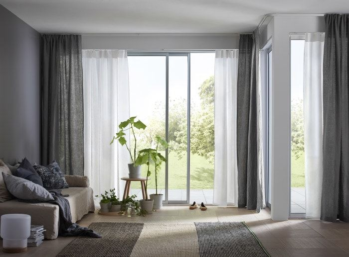 Vidga Corner Solution White Ikea In 2020 Window Treatments Living Room Curtains Living Dining Room Windows