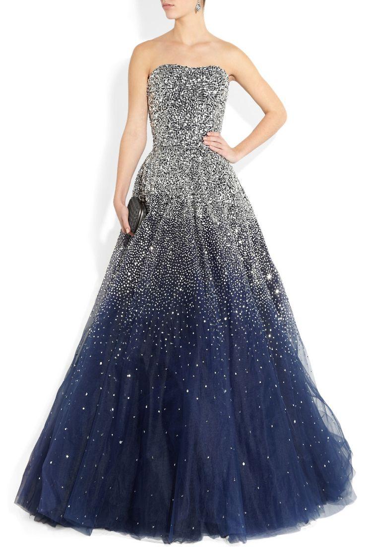 Marchesastarry sky sequined strapless silk tulle gown: Silk Tulle, Blue Sequins, Strapless Silk, Dreams Dresses, Tulle Gowns, Stunning Dresses, Tulle Dress, Marchesasequin Strapless, Marchesa Sequins Strapless