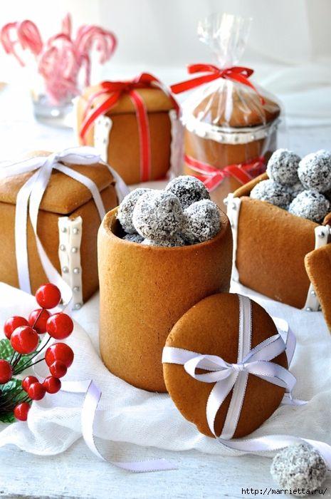 Новогодние подарки своими руками. Съедобные пряничные коробочки с конфетами (3) (465x700, 264Kb)