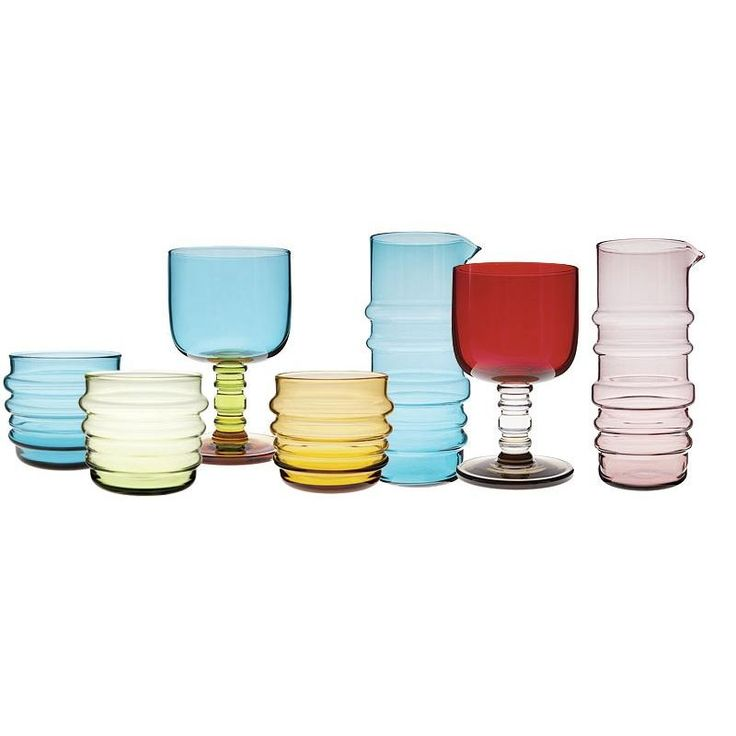 """A pair of ribbed glass tumblers designed by Anu Penttinen. """"Sukat makaralla"""" is Finnish for """"socks rolled down""""."""