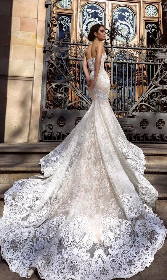 Superb mermaid style lace embroidered wedding dress with elegant bridal train via tm crystal design