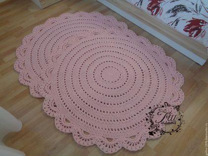 """Текстиль, ковры ручной работы. Ярмарка Мастеров - ручная работа. Купить Вязаный ковер """"Вольность"""". Handmade. Розовый, ажур"""