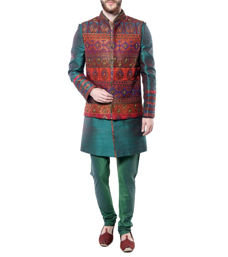 Two #Toned #Green Raw #Silk #Sherwani With Embroidered #Nehru #Jacket- A Masterpiece by Mohanlal Sons at #Indianroots