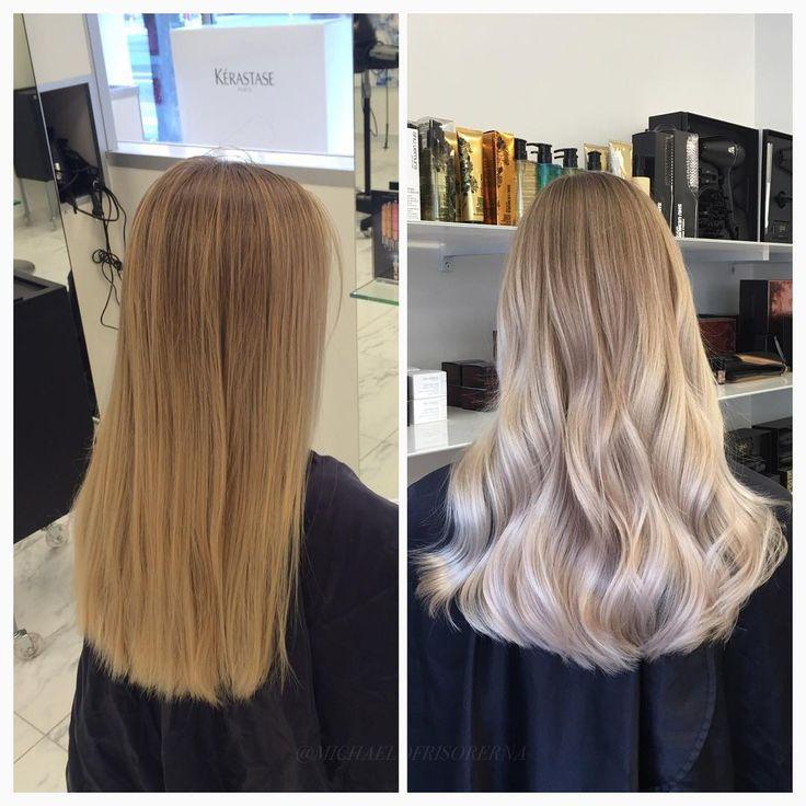 Vi använder oss av balayageteknik för att få riktigt ljusa effekter i längderna, men sparar kundens egna hårfärg i botten så hon slipper utväxt #shinyhair #lightblonde #wavyhair #fusiodose #kerastase