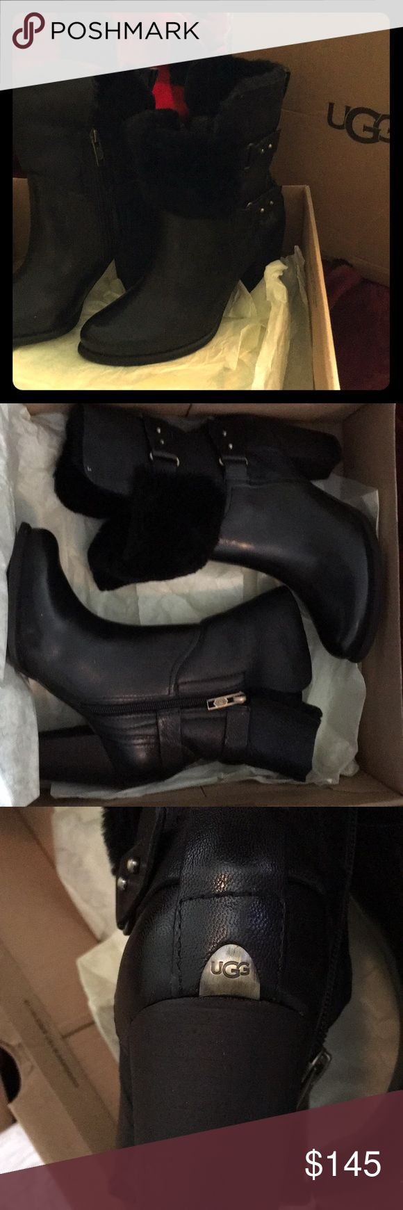 "Ugg Jayne black leather/shearling boots NEW IN BOX 100% authentic UGG BOOTS   2""heel available in black and brown UGG Shoes Heeled Boots"