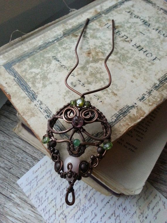 Metal hair Fork - Wire Wrapped Copper Hair Pin - Ornate Artisan HAIRPIN Hair Stick