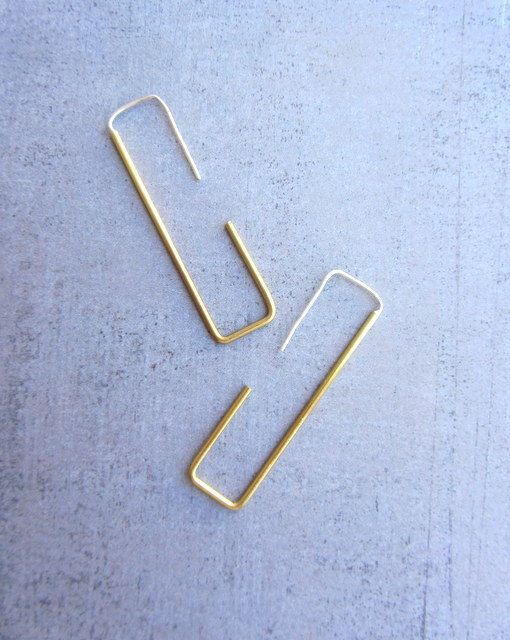 Rectangle gold brass hoop simple modern long wire by lunahoo, $26.00