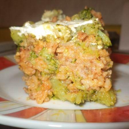 Húsos-rizses rakott brokkoli
